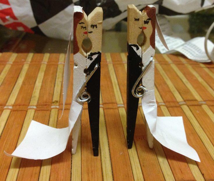 Bride and Groom, newlyweds  pegs