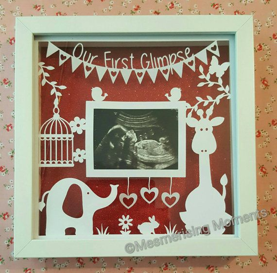 Elephant and Giraffe first glimpse framed baby scan papercut https://www.etsy.com/uk/listing/292264179/our-first-glimpse-framed-papercut-for