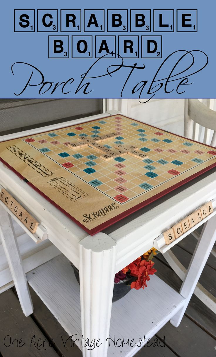 Upcycle that old Scrabble Board and attach it to a table on your porch. It helps to play all the time. Scrabble Board Porch Table from One Acre Vintage Homestead #upcycle #scrabblecrafts