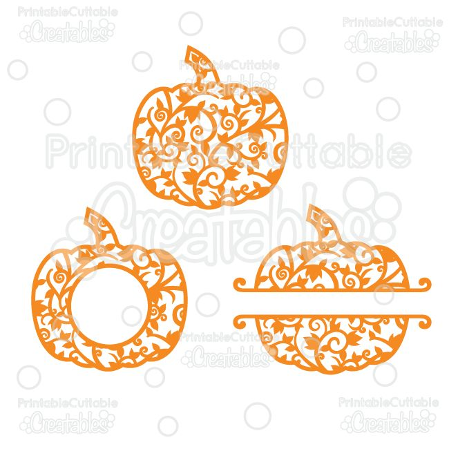 Free set of pumpkin design files. This ready to cut set of pumpkins is available for Silhouette crafters in both SVG and PNG  formats.
