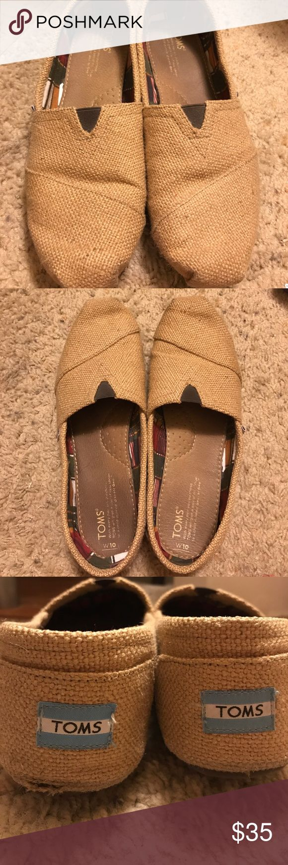 Toms Natural Burlap Toms Natural Burlap. Worn three times Toms Shoes