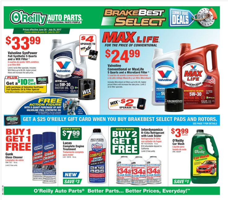 O Reilly Auto Parts June 28 - July 25, 2017 - http://www.olcatalog.com/oreilly-auto/oreilly-auto-parts.html