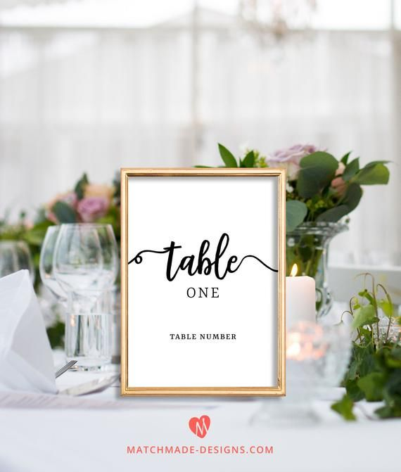 script table numbers printable calligraphy wedding table number