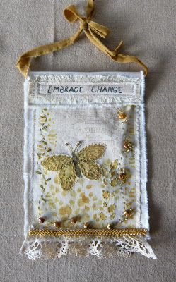 Craft Mix: Embrace Change mixed media prayer flag