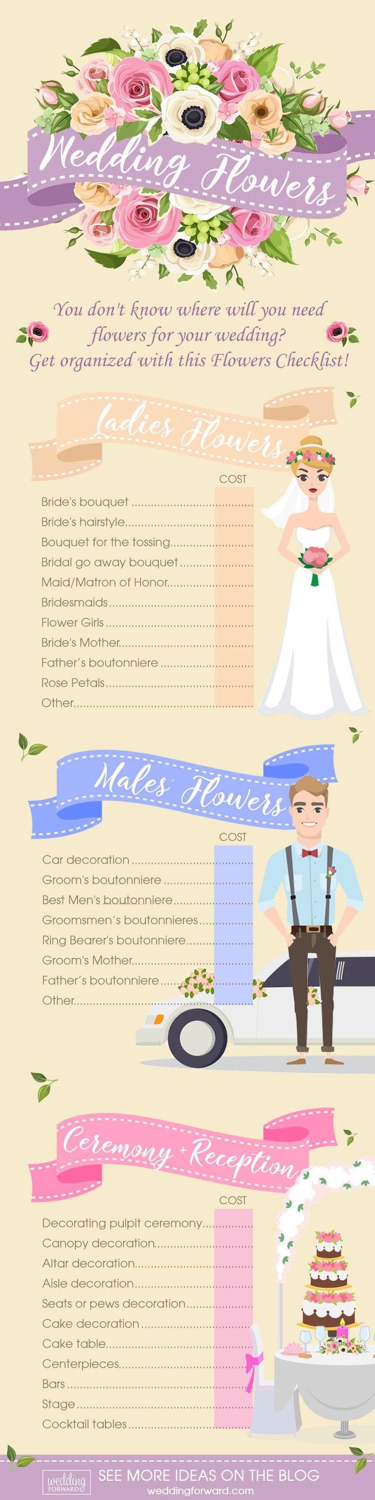 Wedding Flowers Infographics That Will Help You ❤ See more: http://www.weddingforward.com/wedding-flowers-infographics/ #weddingforward #bride #bridal #wedding #weddinginfographic