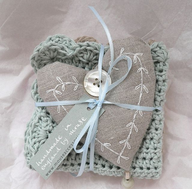 linen heart tied with crocheted spa cloths. Pretty for a gift.