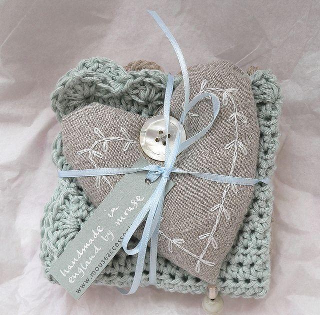 Pretty linen heart by Sue McLoughlin (adore the color)