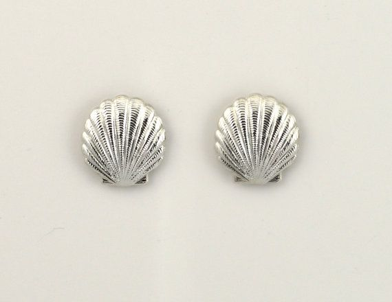 Silver Scallop Shell Magnetic Earrings by LauraWilsonGallery