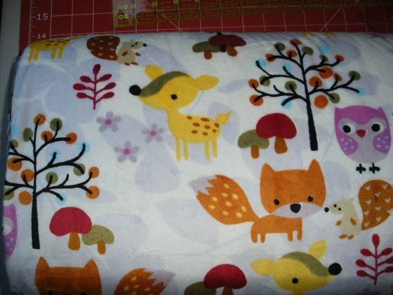Fox animal print minky cuddle fabric by ez fabrics for Constellation fleece fabric