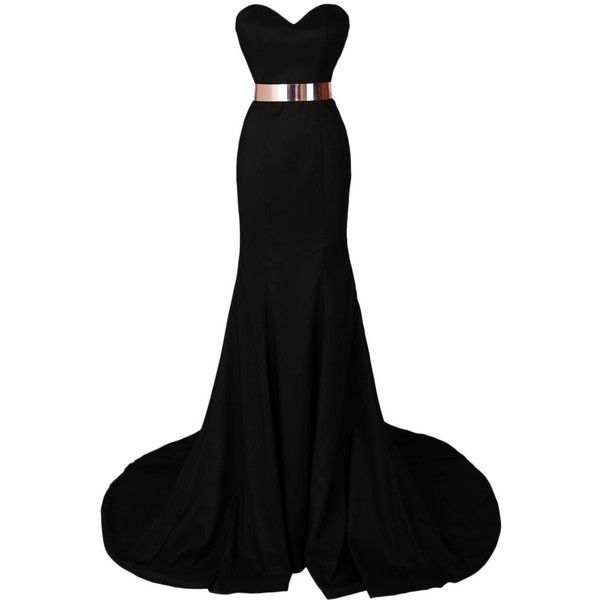 Dresstells Women's Mermaid Satin Dress Prom Dress Evening Gown ($112) ❤ liked on Polyvore featuring dresses, gowns, long dresses, vestidos, vestidos longos, women dresses, black prom dresses, black dress, evening gowns and evening dresses