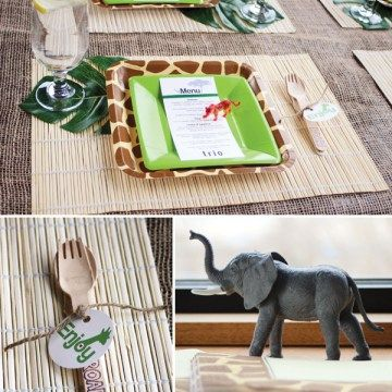 Awesome safari place settings and decorations!