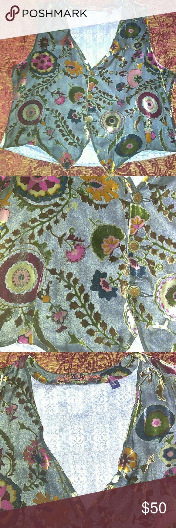 """Robert Graham Velvet Burnout Women Vest Silk Excellent condition.length: 25"""",armpit to armpit: 22"""". Material: 100% silk. Trim: 100% cotton Robert Graham Jackets & Coats Vests"""