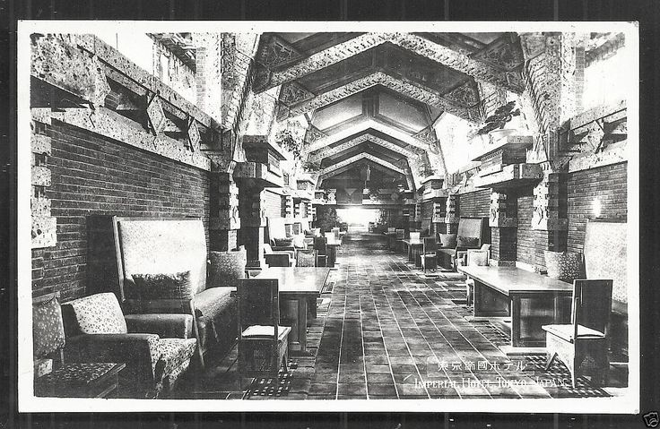 tokyo imperial hotel rppc peacock alley frank lloyd wright architect imperial hotel tokyo. Black Bedroom Furniture Sets. Home Design Ideas