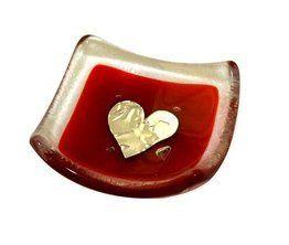 Jo Downs Handmade Glass Red Silver Heart Earring Dish 6cm  Price : £7.99 http://www.bronzebarngallery.com/Jo-Downs-Handmade-Silver-Earring/dp/B00NC5DU4S