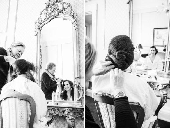 Een bruidskapsel waarbij het haar getoupeerd en geboetseerd wordt. En gefixeerd met een onzichtbaar haarnetje.