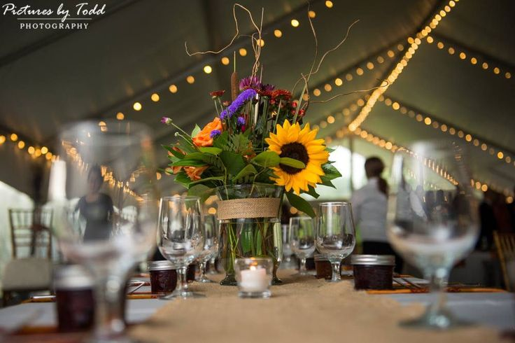 Sunflower and Wildflower Centerpiece- Pearl S Buck summer table | by Jamie Hollander Catering & Events