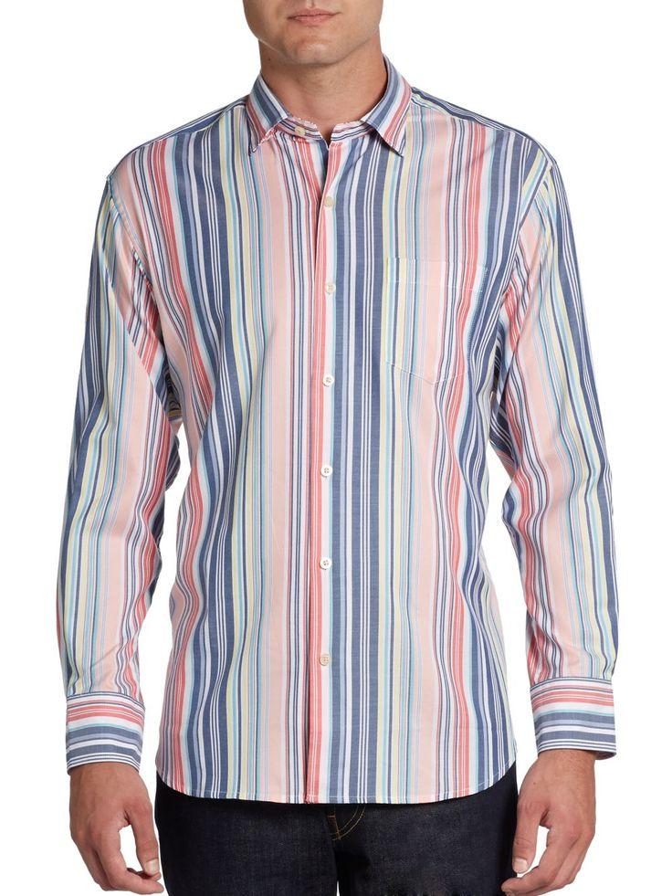 Tommy Bahama - Blue Statement Striped Cotton Sportshirt