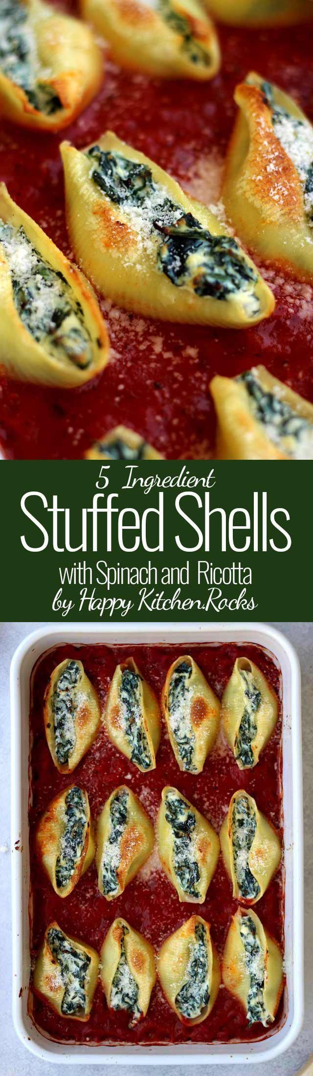 Super Easy 5 ingredient Stuffed Shells recipe with spinach and ricotta will take you no more than 30 minutes to make. Delicious, healthy, comforting and wholesome vegetarian pasta dinner you whole family will enjoy! #pasta #vegetarian #pastadinner #stuffe