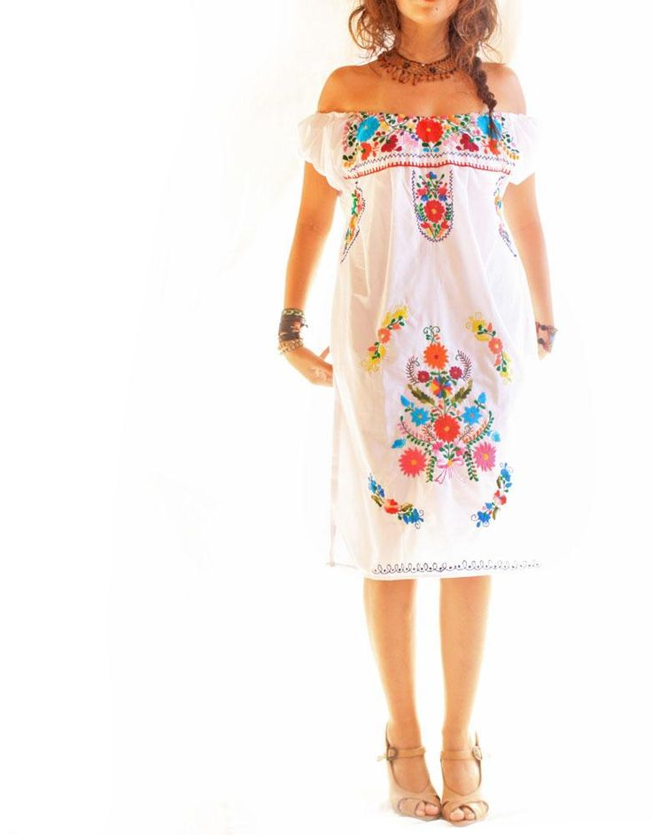 Mexican embroidered dress off shoulder. This is the dress my maids will wear!