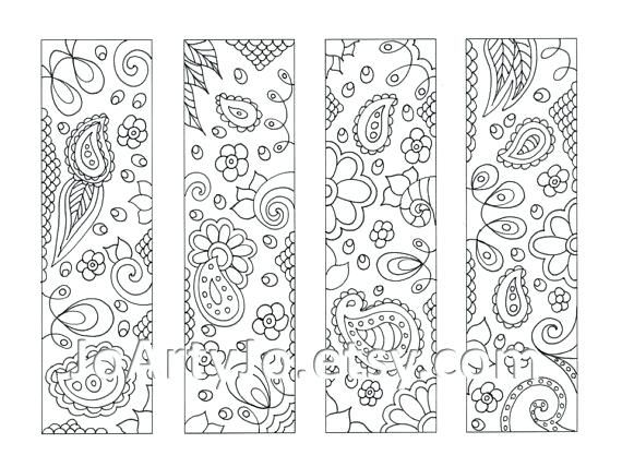 Bookmarks To Print Out For Free Downloadable Color Paisley