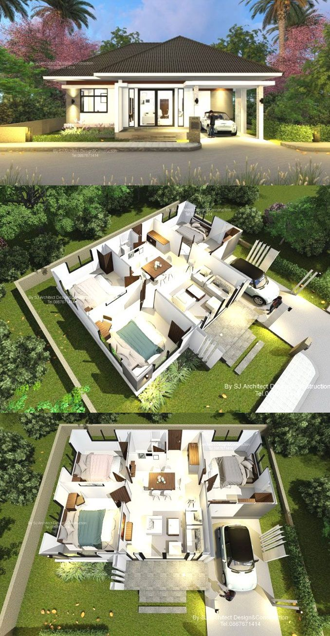 Contemporary Three Bedroom Bungalow With A Hip Roof Ulric Home Bungalow House Design Simple House Design House Construction Plan