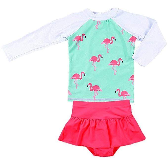 Baby Girls Kids Toddler Two Piece Long Sleeve Swimwear Rash Guard UPF 50 UVSwimsuits Bathing Suits