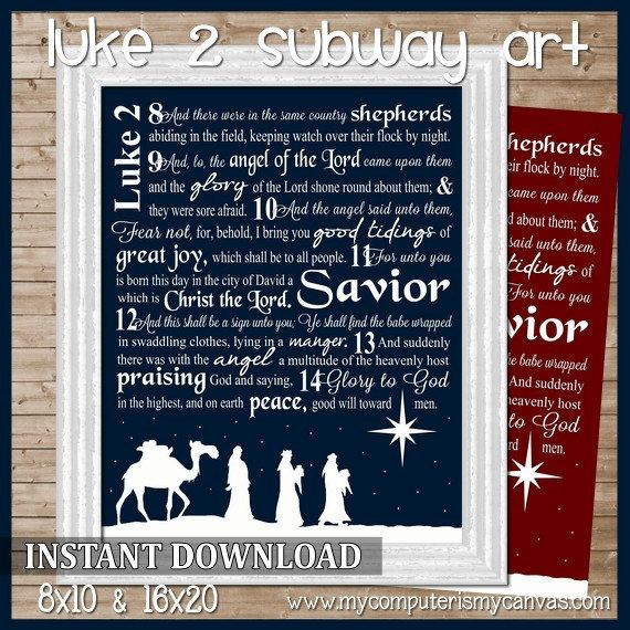 Luke 2 Nativity Christmas Subway Art - Printable INSTANT DOWNLOAD