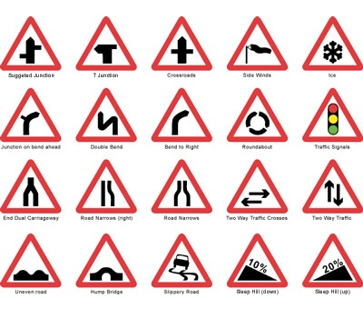 various triangular base road sign