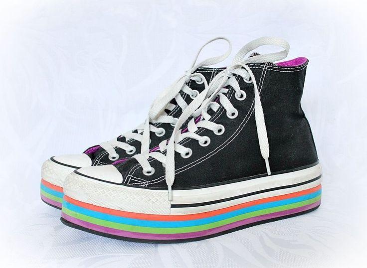 Women's Black Chuck Taylor Eva Hi Platform Casual Sneakers Top Black Multicolor #Converse #HiTopTrainerBoots