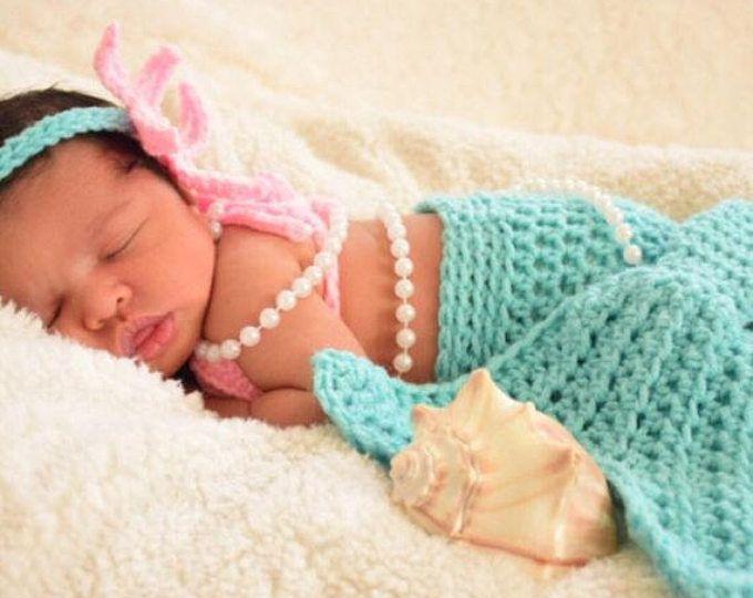 Sirena bebe - sirena Bra - mar Shell Bra - bebé sirena traje - traje de sirena - Crochet Baby Mermaid cola - sirena traje de ganchillo