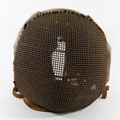 Old Leather Fencing Mask - Old orginal fencing mask - brown leather & steel frame & mesh - in excelent condition