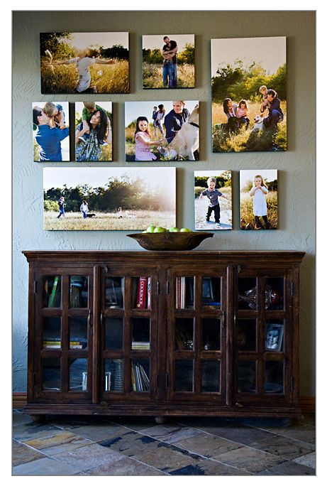 I love the entire arrangment of pictures with the Book case.