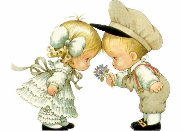 На открытке мальчик и девочка