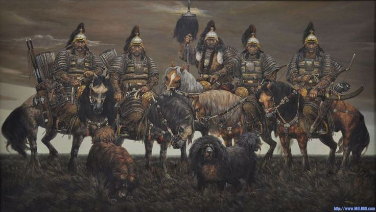 Mongol armoured Warriors with their Mongolian mastiffs, the Bankhar dog.
