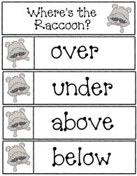 "The Kissing Hand activities:  ""Where's the Raccoon?"" pocket chart cards."