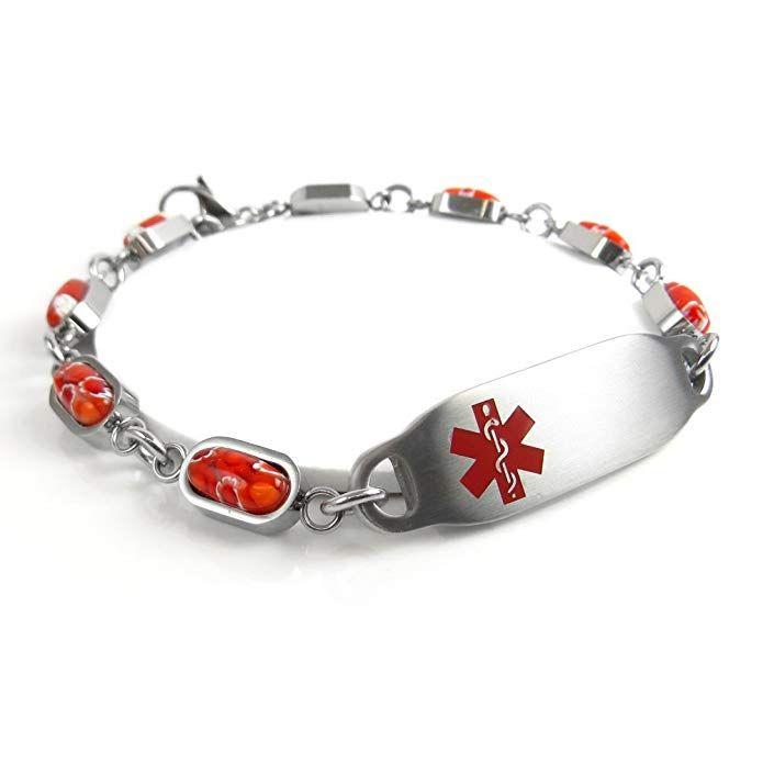 Pre-Engraved /& Customizable Celiac Disease Medical Bracelet My Identity Doctor Millefiori Glass Pattern White,
