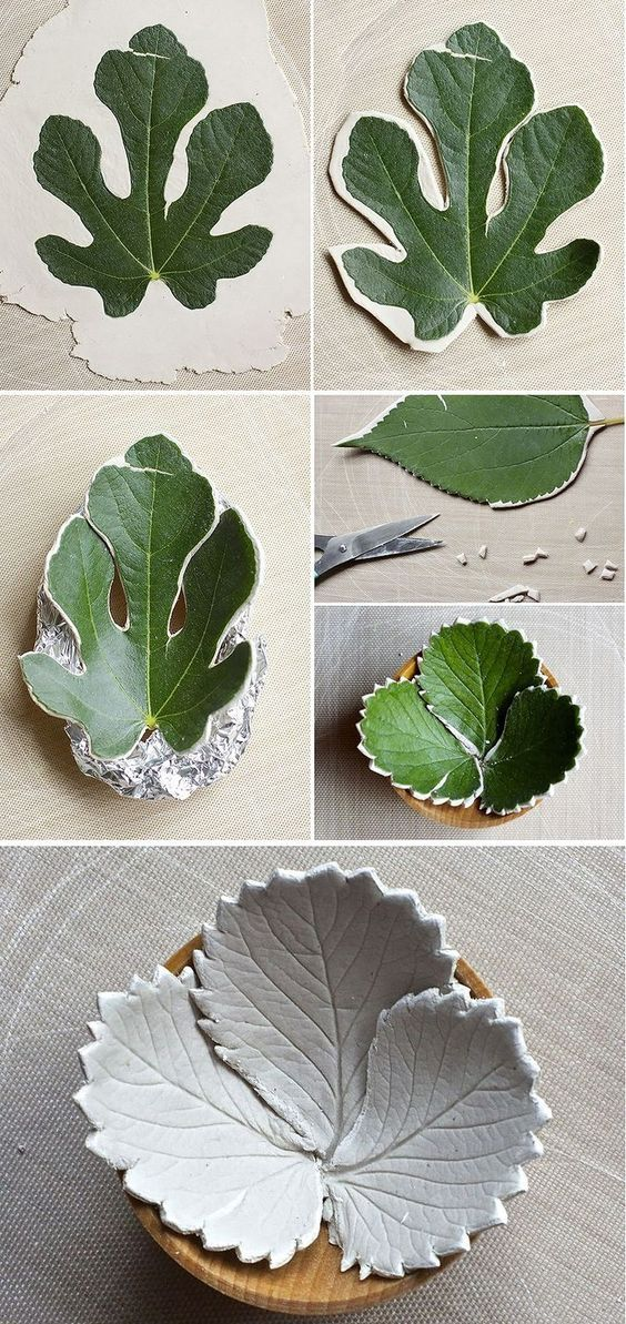 Make diy leaf bowls from air dry clay: