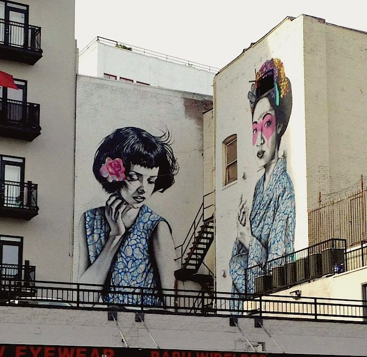 Street Art NYC in L.A. with: Beau Stanton, Pixel Pancho, Fin DAC & Christina Angelina, Lady Aiko, Hueman and Roa. -- Fin DAC and Christina Angelina