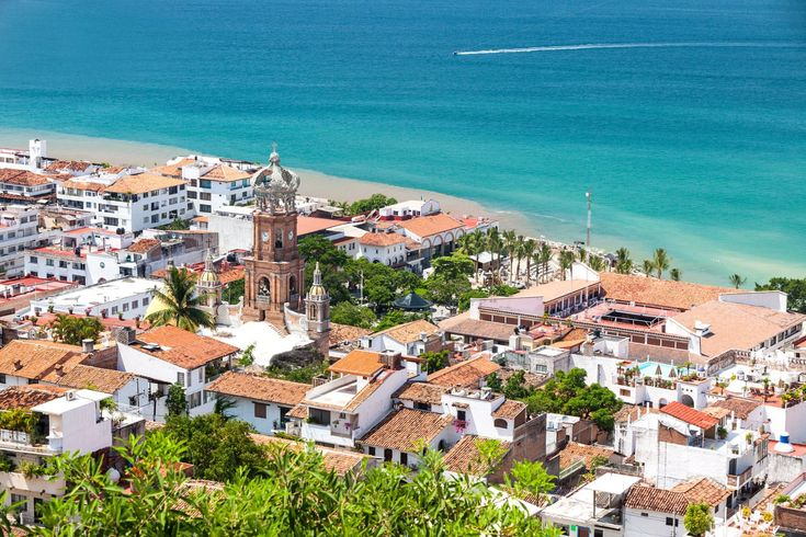 Panoramic view of downtown Puerto Vallarta in Mexico