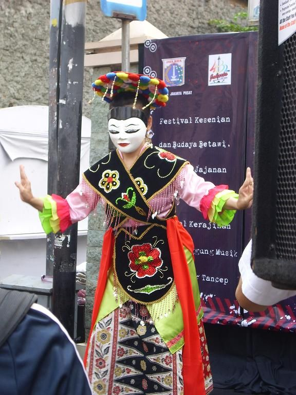 Betawi Mask Dance    Jakarta native community or better known as Batawi people has a lot of traditional art, one of which is the Betawi mask. Betawi mask has at least three main elements: music, dance, and theater. The dance in this traditional art then so called as Betawi Mask Dance.