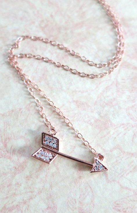 Arrow necklace Cubic Zirconia rose gold filled