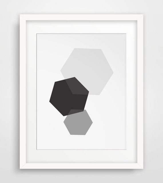 Grey and Black Wall Art Hexagon Art Grey and by MelindaWoodDesigns #Hexagondecor #modernart