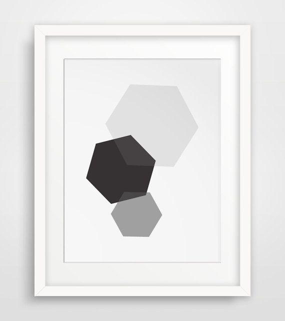 Grey and Black Wall Art Hexagon Art Grey and by MelindaWoodDesigns #Hexagondecor #modernart