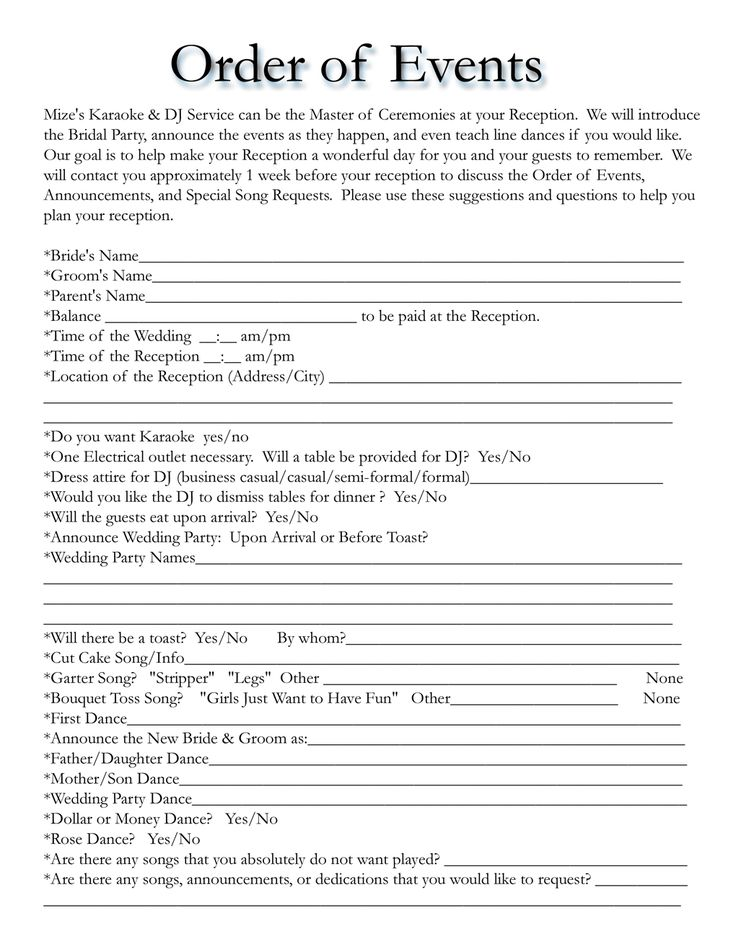 wedding reception itinerary for dj Google Search