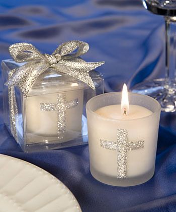 Silver Cross Themed Candle Favors - Share a blessing with your family and friends with these silver cross candle favors. http://www.favorfavorbaby.com/p-5406.htm