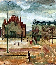 Erik Enroth, maalaus 1945.  Näkymä Ateneumin ikkunasta. Vasemmalla kansallisteatteri.