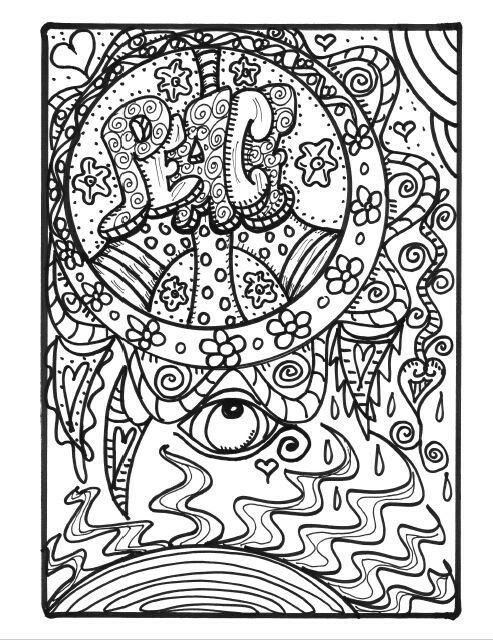 free hippie art coloring page for adults by dawn collins peace symbol - Hippie Coloring Pages