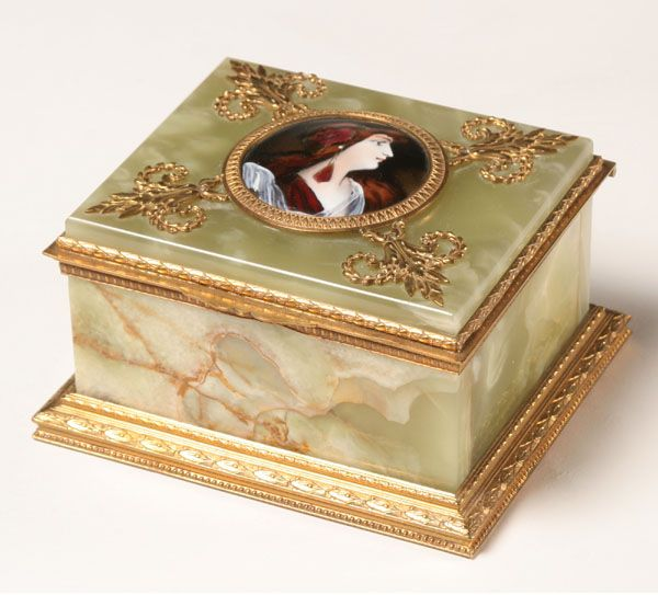 French Alabaster Box w/HP Cameo Gilt Metal Trim