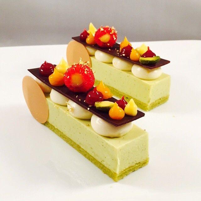 Antonio Bachour - pistachio mousse bar, lemon mousse, raspberry , lemon curd