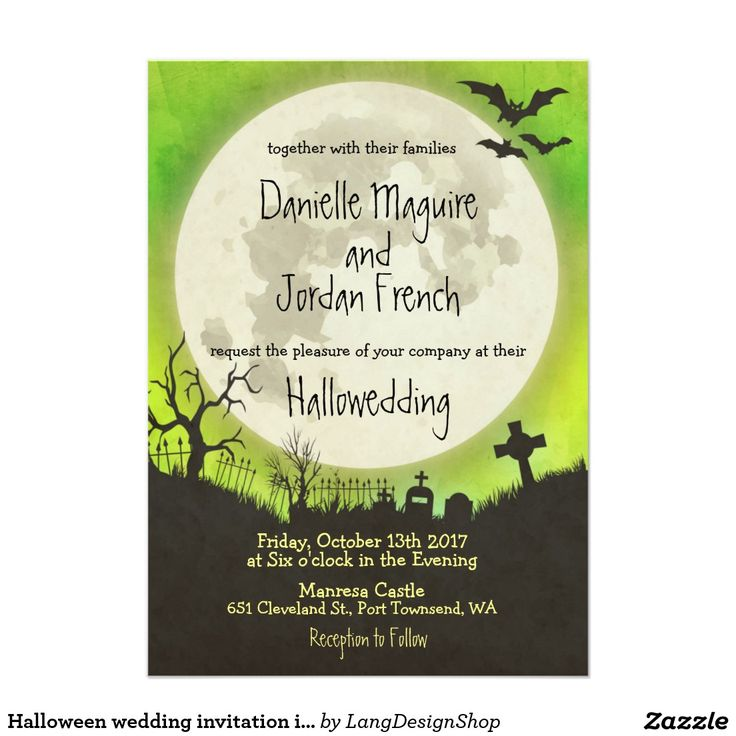 158 best wedding printable images on pinterest wedding printable halloween wedding invitation with full moon graveyard and bats over an eerie green sky perfect for your hallowedding you can customize the text font stopboris Gallery